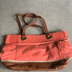 Coral and tan Sak purse